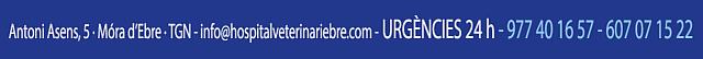 CONTACTA AMB L'HOSPITAL VETERINARI DE L'EBRE - INFO@HOSPITALVETERINARIEBRE.COM - 977 40 16 57 - 607 07 15 22